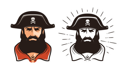 Angry pirate. Portrait of bearded filibuster in hat. Cartoon vector illustration