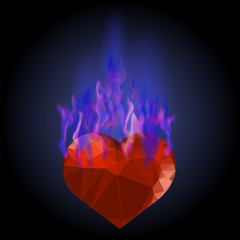 Burning Heart with Blue Fire Flame