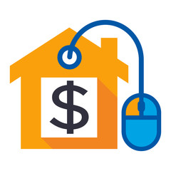 logo icon for digital business selling home property with dollar money sign