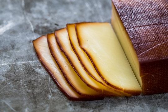 Sliced smoked cheese