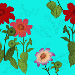 Flowers are dahlias. Vector background. Abstract wallpaper with floral motifs.  Seamless pattern. Wallpaper.  Use printed materials, signs, posters, postcards, packaging.