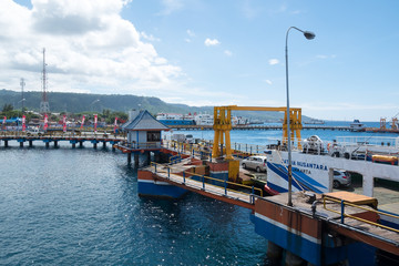 BALI, INDONESIA - JULY 10, 2017: Ferry in Banyuwangi Gilimanuk to Ketapang port in East Jave side in Ubud, Bali Indonesia