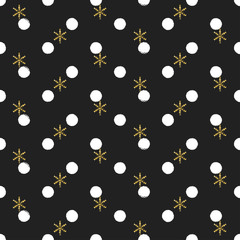 Glitter gold polka dot Christmas New Year seamless pattern with snowflakes. Paint brush circle black and white background. Golden snowflakes. Vector illustration. Hipster trendy wrapping gift paper.