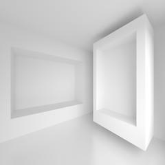 Abstract Interior Design. White Futuristic Background. 3d Illustration