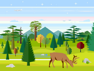 Flat vector illustration of nature. Landscape with mountains, wood, deer and river. Nature vector. Nature flora.