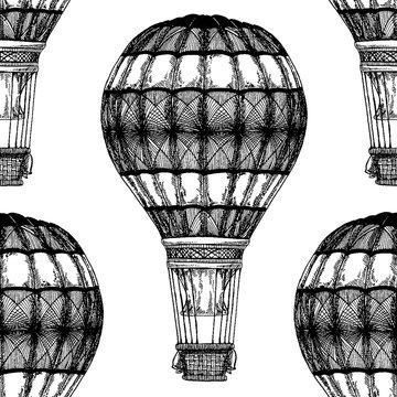 Vintage balloon Vector image on blackboard Chalk Illustration Seamless vector pattern with hot air balloon Balloon festivals