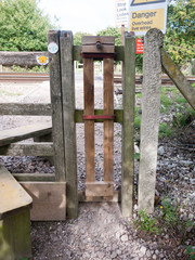 rail way train country crossing wooden fence