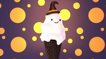 Cute Happy Halloween ice cream cone. 3d rendering picture.