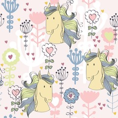 vector art seamless pattern with cartoon horse.