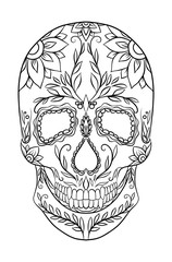 Contour black and white illustration of a sugar skull. The Feast of the Day of the Dead. Vector element for your creativity