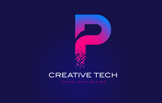 P Initial Letter Logo Design with Digital Pixels in Blue Purple Colors.