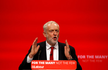 Britain's opposition Labour Party Leader Jeremy Corbyn delivers his keynote speech at the Labour Party Conference in Brighton