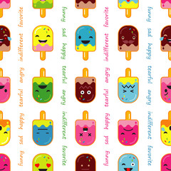Seamless background with Popsicle emotions. Vector illustration. Textile rapport.