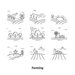 Farm landscape icons, farming vector concept, thin line style, vector illustration