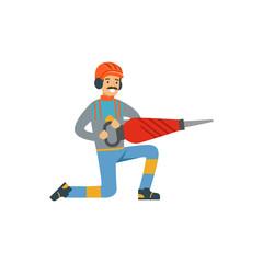 Male miner worker in uniform holding jackhammer, professional miner at work, coal mining industry vector Illustration