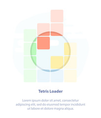 Tetris pieces Loader. Flat light infographic vector design, Loading or Download Bar for ui and ux design, for mobile app on white background