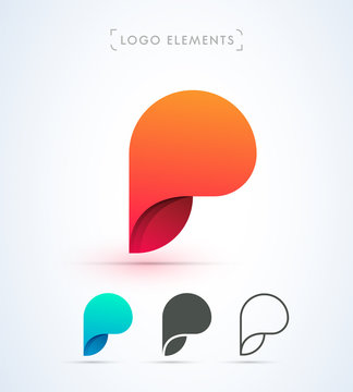 Abstract letter P vector logo. Material design, flat, line art style. App icon