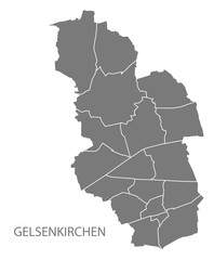 Gelsenkirchen city map with boroughs grey illustration silhouette shape