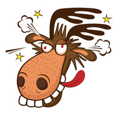 Moose On The Loose. Moose Face Picture. Cartoon Smile Deer Vector. Image On White Background.