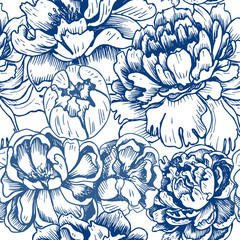 Vector illustration sketch - card with flowers chrysanthemum, peony. Pattern with flowers.