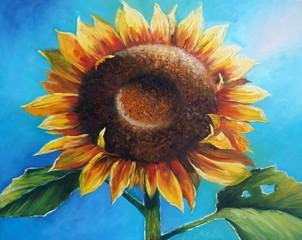 Original oil painting on canvas - Sunflower - Modern Art
