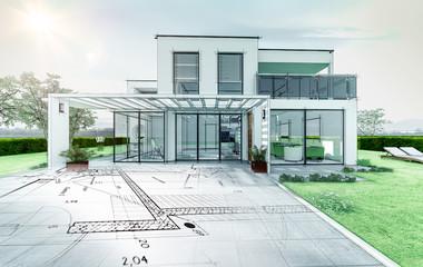 Esquisse d'une maison d'architecte moderne
