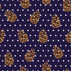 Pine cones. Pattern polka dot