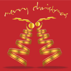 Stylized ribbon Christmas tree with Christmas balls. Merry Christmas Card.