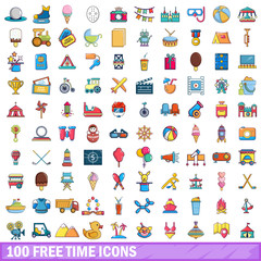 100 free time icons set, cartoon style