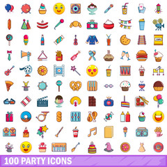 100 party icons set, cartoon style