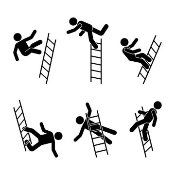 Man falling off a ladder stick figure pictogram. Different positions of flying person icon set symbol posture on white