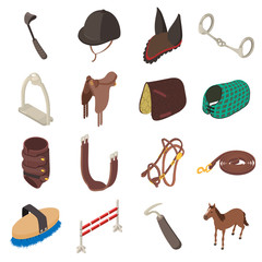 Horse sport equipment icons set, isometric style