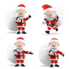 Santa Claus with big bag, 3D illustration