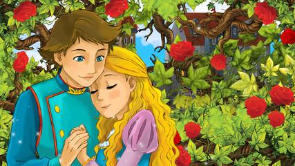 Cartoon happy couple talking in the garden full of roses - illustration for children