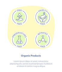 Logo Set Badge Ingredient Warning Label Icons. GMO, Cruelty, Preservatives, Nitrates Free Product Stickers. Flat Line Icon Design