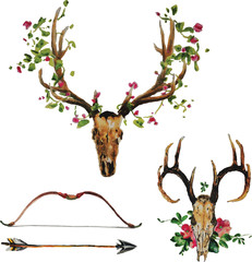 Poster Crâne aquarelle Bohemian deer skull with flowers, arrow and bow set