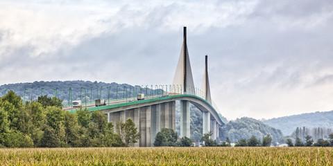 Fototapeten Bridges Brotonne bridge over Seine river panorama