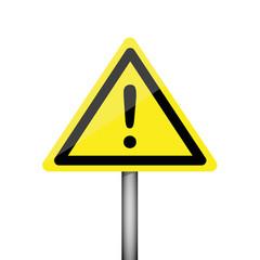 dreieckiges gelbes warnschild mit ausrufezeichen