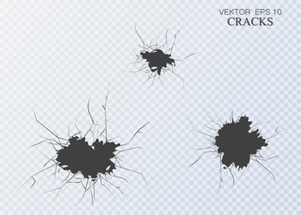 Set of vector cracks isolated on transparent background.