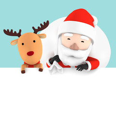 Santa Claus & reindeer blank advertisement banner background with copy space for text