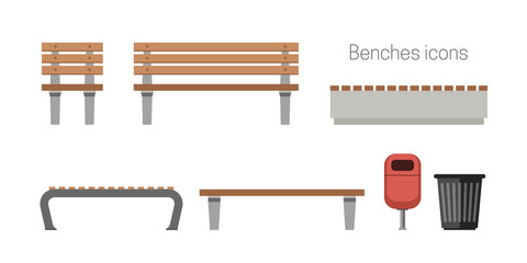 Benches flat icons