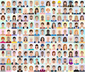 Portraits of different people, light background, vector illustration