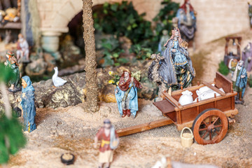 Some details and characters in a crib, at Christmas time