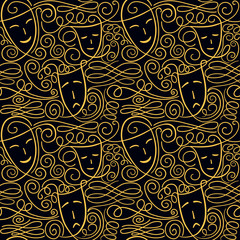 Vector seamless pattern with theatre comedy and tragedy masks and hand drawn curls and swashes
