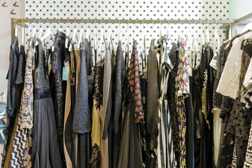 evening dresses on hangers
