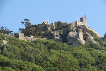Portugal - Sintra - Château des Maures vu de la ville