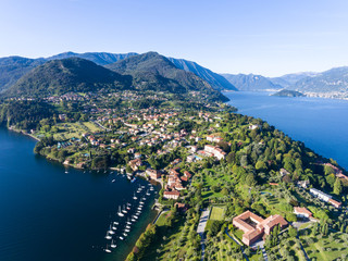 Bellagio, lake of Como in Italy - Aerial view with drone