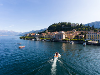 Lifestyle on lake of Como, boats and luxury homes