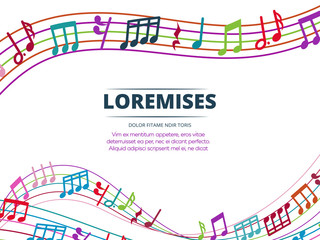 Colorful musical notes and sound waves vector background
