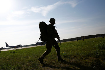 Polish soldier from 6th Airborne Brigade participate in Dragon-17 military exercises at the airport in Szymany